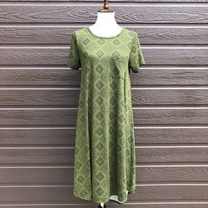 LuLaRoe Green Patterned Carly Dress